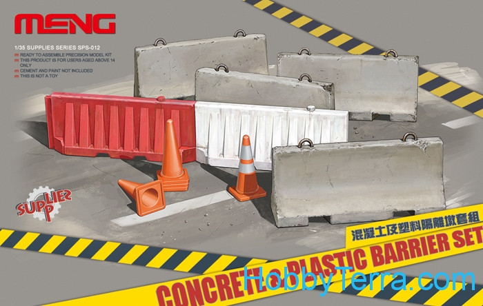 Set of concrete and plastic guardrails