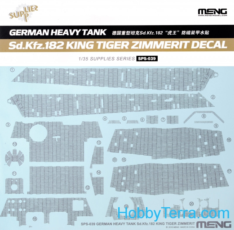 Meng  SPS039 Decal for German heavy tank Sd.Kfz.182 King Tiger