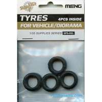 Set of rubber tires for vehicle/diorama (4 pcs)