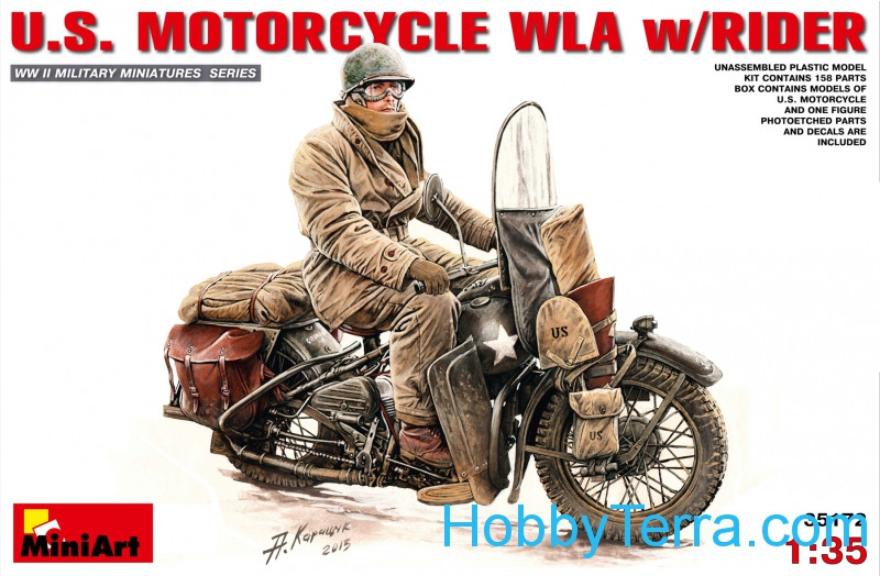 Miniart  35172 U.S.Motorcycle WLA with rider