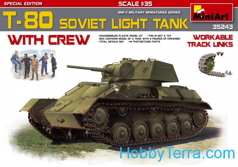 Miniart  35243 Soviet light tank T-80 with crew. Special Edition