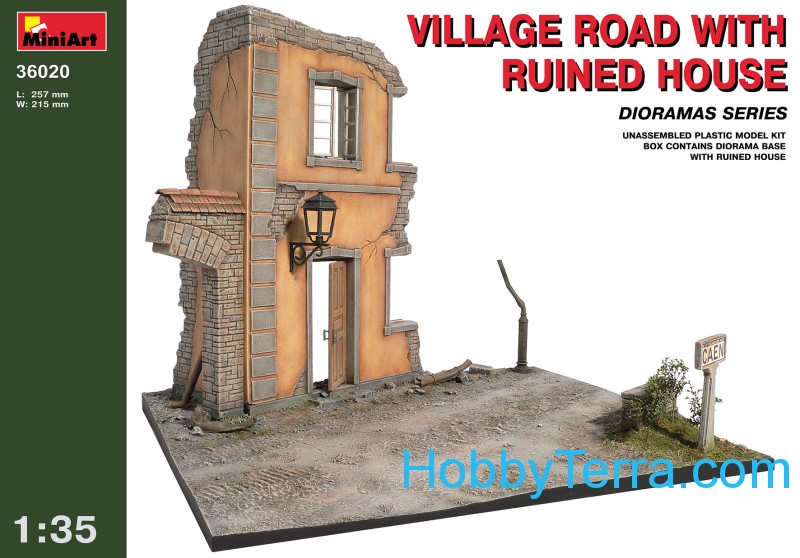 Village road with ruined house