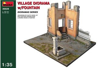 Village diorama with fontaine