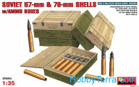 Soviet 57-mm & 76-mm shells with ammo boxes