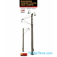 Railroad power poles and lamps