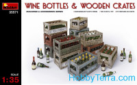 Wine bottles and wooden сrates