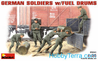 German soldiers with fuel drums