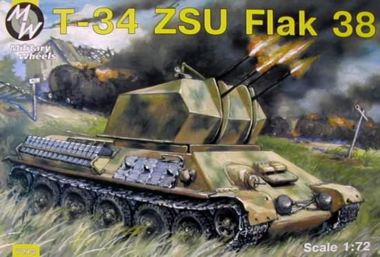 Military Wheels  7213 T-34 with ZSU Flak 38