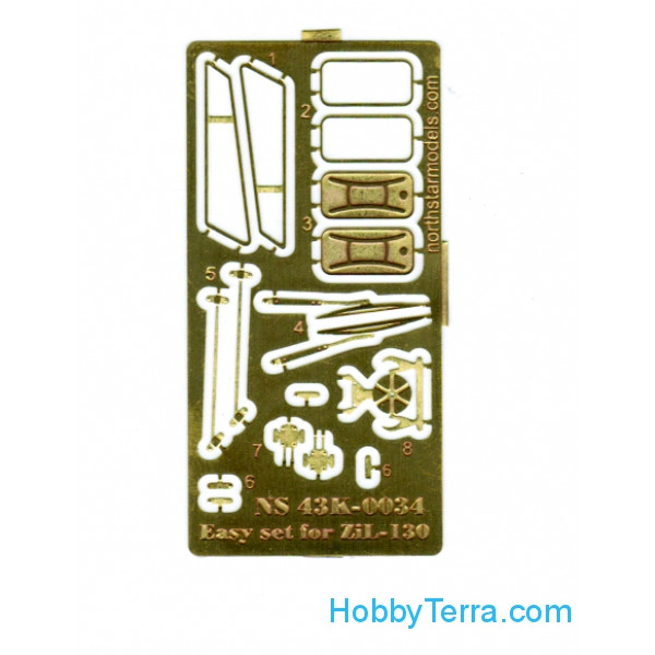 Northstar Models  43K-0034 Photo-etched set 1/43 for ZiL-130 SSM (mirrors, windscreen wipers, fuel tank cap)