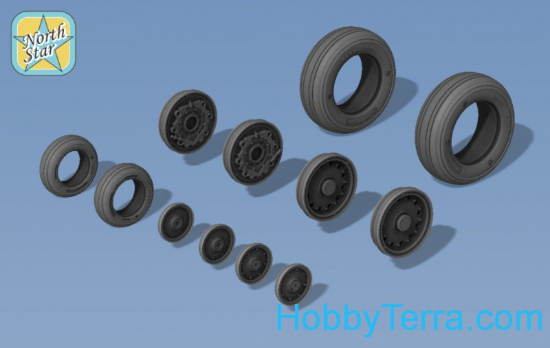 Wheels set 1/48 for A-6 Intruder & EA-6B Prowler, no mask series