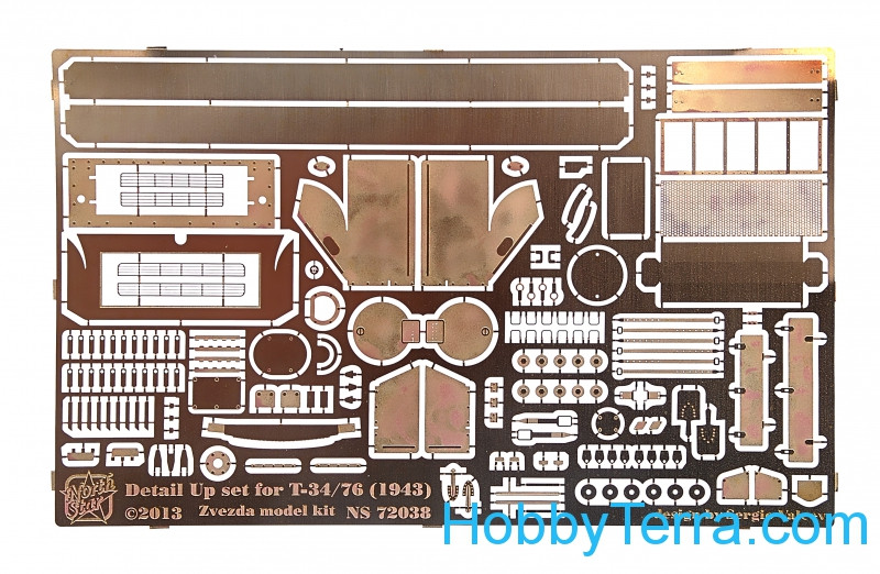 Photo-etched set 1/72 for T-34/76, for Zvezda kit