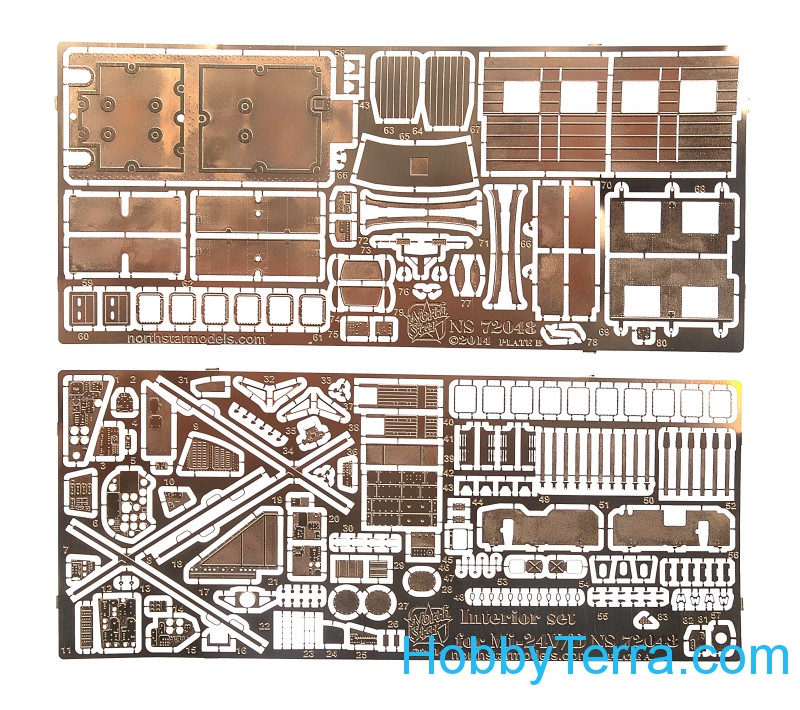 Photo-etched set 1/72 Mi-24V/D interior set (cockpit + cargo cabin)