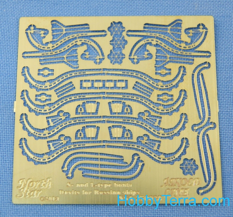 Photo-etched set 1/350 S and L-type boats Davits for Russian ships