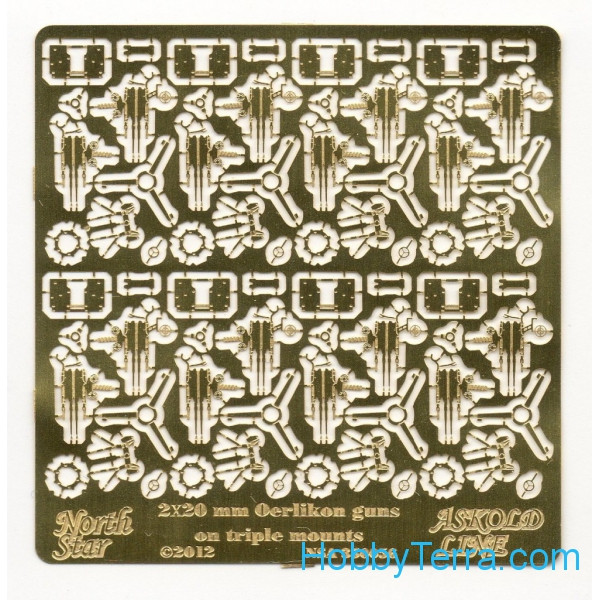 Photo-etched set 1/350 2x20mm Oerlikon guns on triple mount