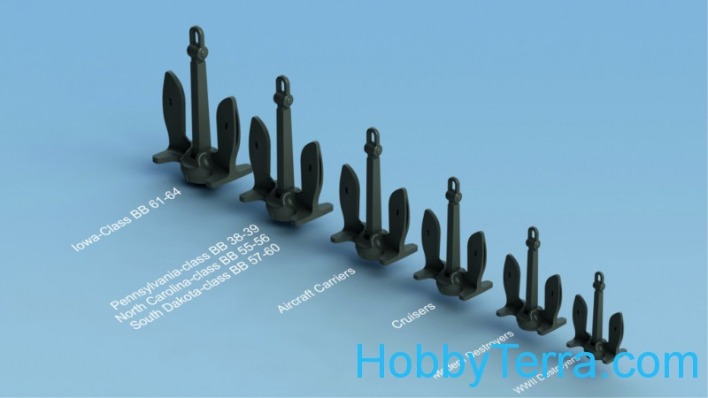 U.S. Navy stockless anchor (6 types, 24 pcs) (resin)