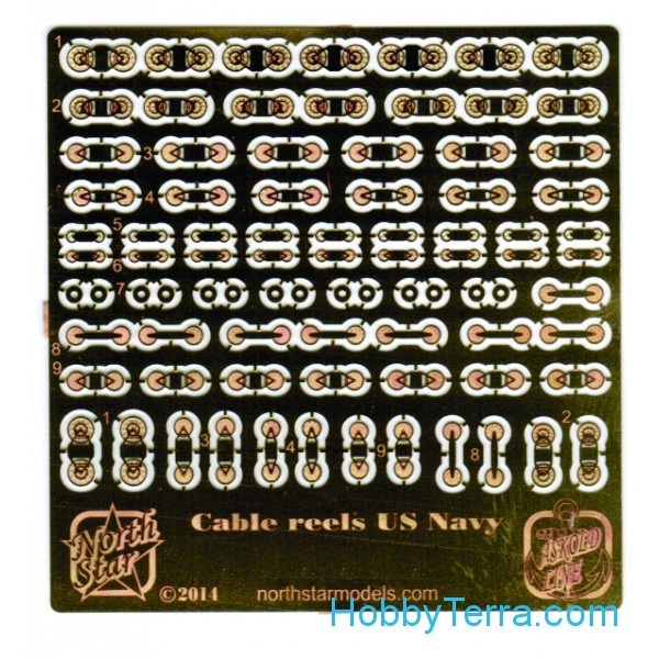 Photo-etched set 1/700 U.S. Navy Cable reels