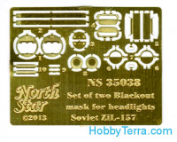 Photo-etched set /135 Blackout mask SMU33/34 for headlights and rear lights ZiL-157