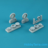 Wheels set 1/48 for Fw 190 A/F/G, late disk with Continental late (smooth) main tire