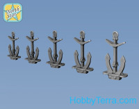 Classic stock Hall anchor (5 sizes x 10 pcs, total 50pcs), resin parts