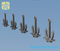 Stockless anchor hall (5 sizes x 10 pcs, total 50pcs), resin parts