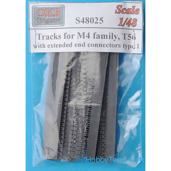 Tracks 1/48 for M4 family, T56 with extended end connectors, type 1