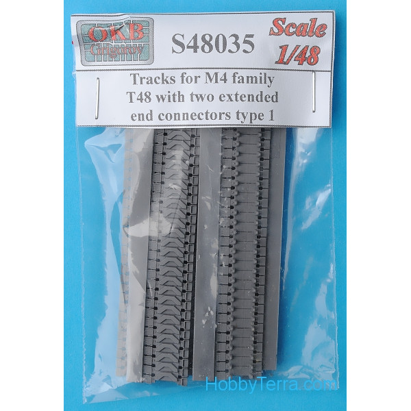 Tracks 1/48 for M4 family, T48 with two extended end connectors, type 1