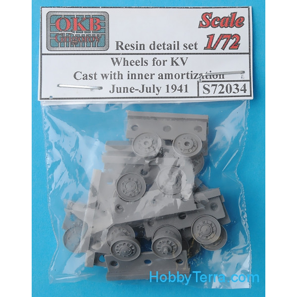 Wheels set 1/72 for KV, cast with inner amortization, June-July 1941