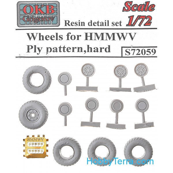 Wheels set 1/72 for HMMWV Ply pattern, hard