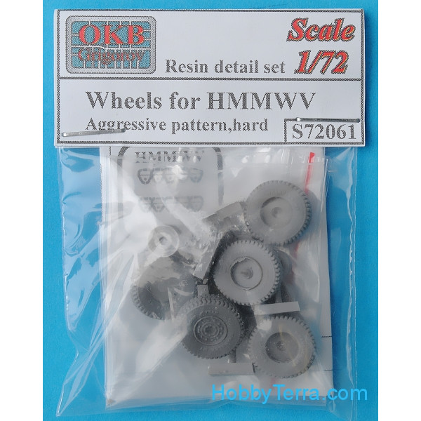 Wheels set 1/72 for HMMWV, Aggressive pattern, hard
