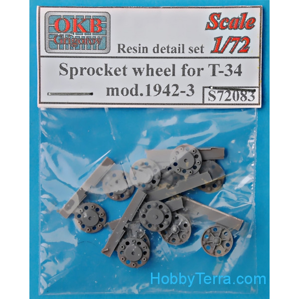 OKB Grigorov  72083 Sprocket wheel for T-34,mod.1942-43 (6 pcs)