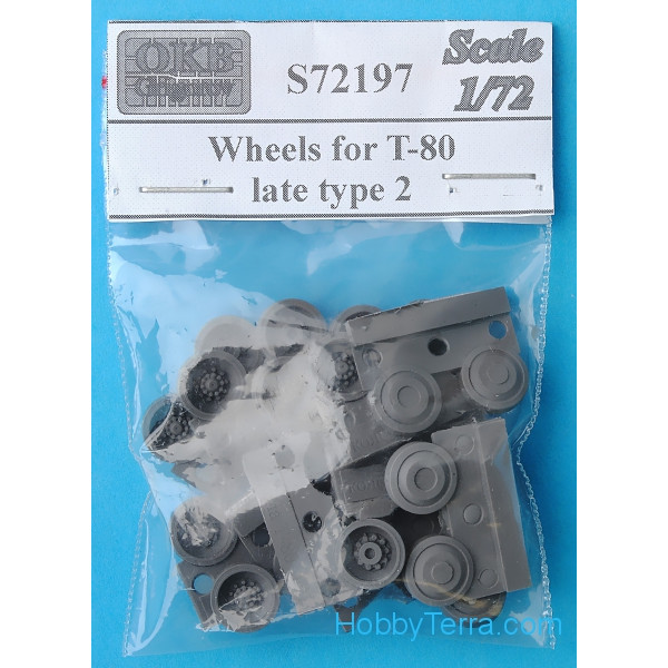 Wheels set 1/72 for T-80 tank, late, type 2