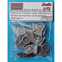 Wheels set 1/72 for T-34, cast, early, with holes on the hub and 42 holes on the bandage