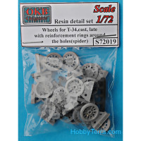 Wheels set 1/72 for T-34,cast, late with reinforcement rings around the holes (spider)