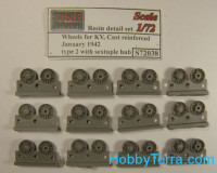 Wheels set 1/72 for KV, cast reinforced, January 1942, with sextuple hub, type 2