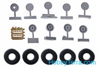 Wheels set 1/72 for HMMWV, ply pattern, soft