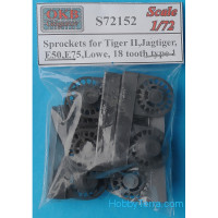 Sprockets 1/72 for Tiger II, Jagtiger, E50, E75, Lowe, 18 cogs, type 1 (8 per set)