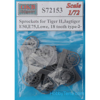 Sprockets 1/72 for Tiger II, Jagtiger, E50, E75, Lowe, 18 cogs, type 2 (8 per set)