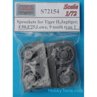 Sprockets 1/72 for Tiger II, Jagtiger, E50, E75, Lowe, 9 cogs, type 1 (8 per set)
