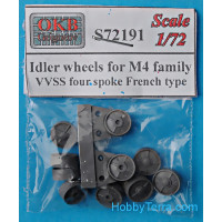 Idler wheels for M4 family, VVSS four spoke French type (12 per set)