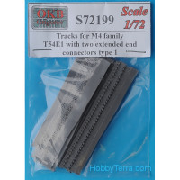 Tracks 1/72 for M4 tank family, T54E1 with two extended end connectors, type 1