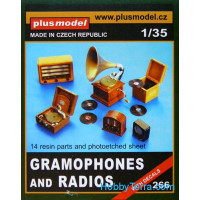 Gramphones and radios, 14pcs (resin)