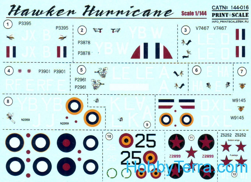 Decal 1/144 for Hurricane Mk.I Aces. The battle of Britain