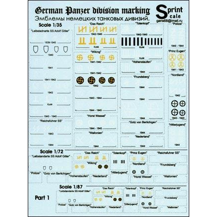 German Panzer division marking, Part 1, scale 1/35, 1/72, 1/87