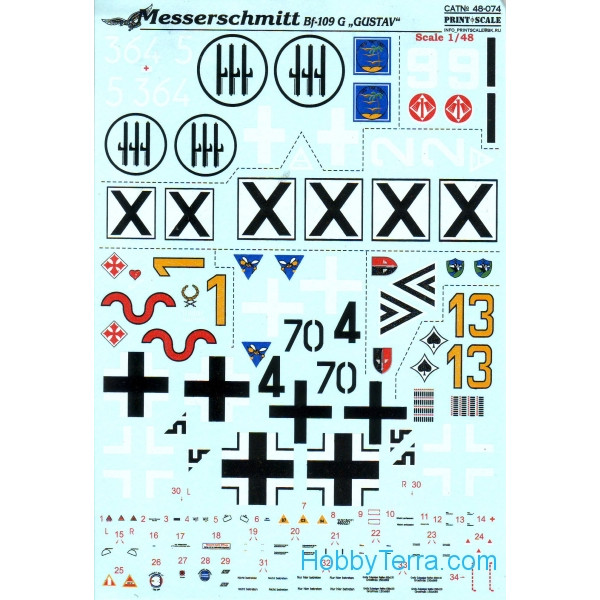 Decal 1/48 for Messershmit Me-109-G