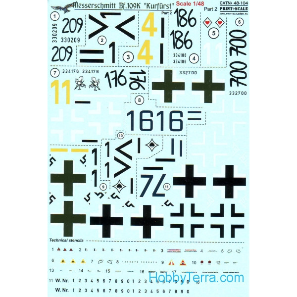 Decal 1/48 for Bf.109K Kurfurst, Part 2