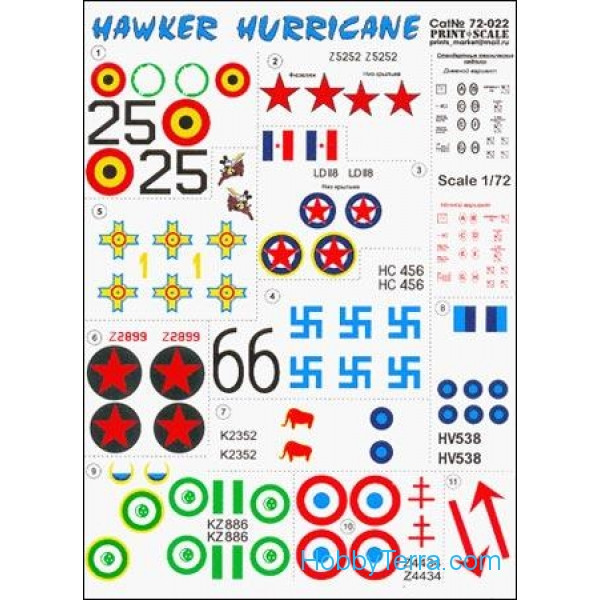 Print Scale  72-022 Decal 1/72 for Hawker Hurricane
