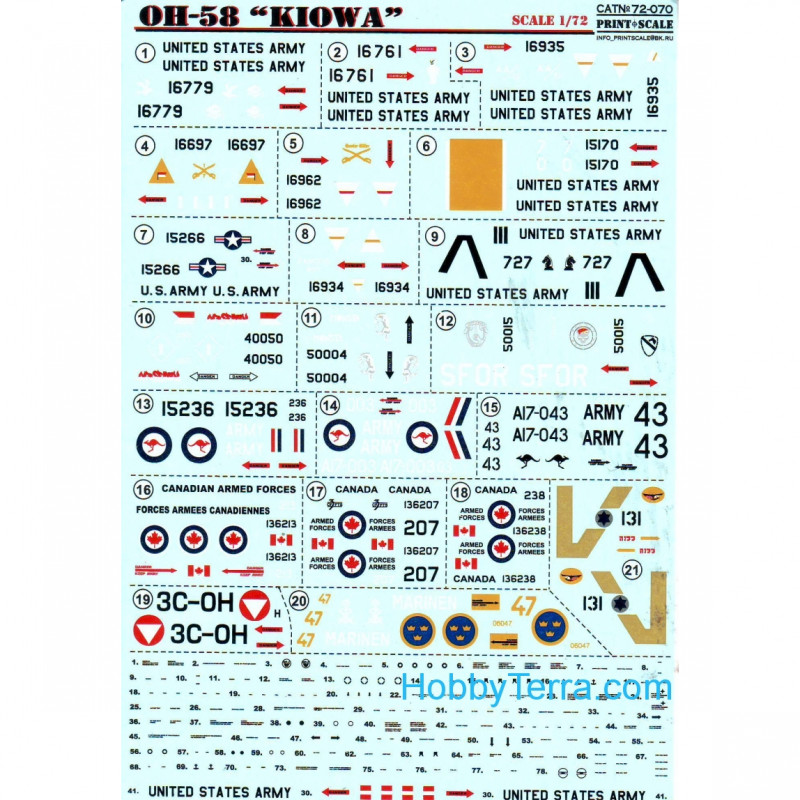 1/72 scale decal for Kiowa OH-58 Helicopter Print Scale 72 ...