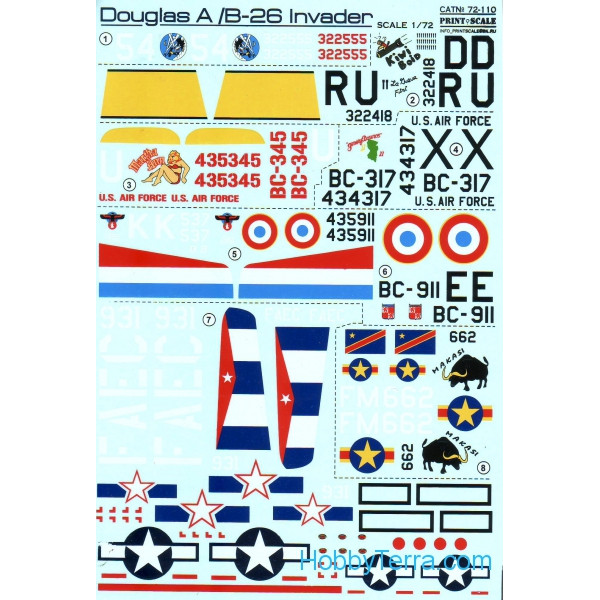 Decal 1/72 for Douglas A-26 Invader