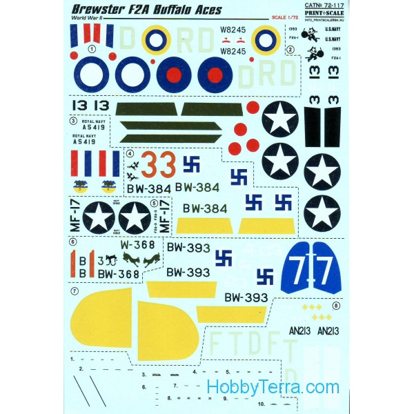 Decal 1/72 for Brewster F2A Buffalo