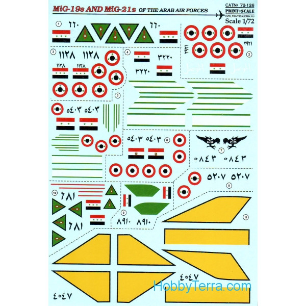 Decal 1/72 for MiG-19s and MiG-21s of the Arab Air Force